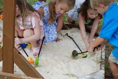 dino dig in a sand box! or for a construction themed party, put trucks in huge sand box