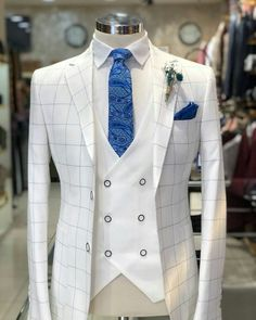 Wedding Suits Slim-Fit Plaid Suit White – BOJONI - Available Size : material : e viscose , 2 polyester , lycra Machine washable : No Fitting : slim-fit Remarks : Dry Cleaner Slim Fit Tuxedo, Slim Suit, Tuxedo Suit, White Tuxedo, Prom Tuxedo, White Plaid, Wedding Dresses Men Indian, Wedding Suits, Mens Fashion Suits