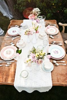 A classic tea party dining setting. #entertaining