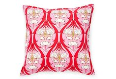 This mod pink pillow is a great way to add a touch of feminine to a space.  #onekingslane and #designisneverdone