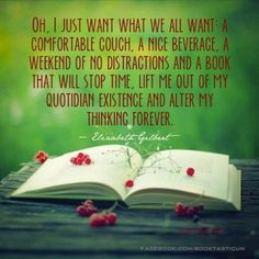 A comfortable couch. A nice beverage. A weekend with no distractions & a book that will stop time, let me out of my present existence & alter my thinking forever. I Love Books, Good Books, Books To Read, My Books, Book Memes, Book Quotes, Life Quotes, Book Dedication, Word Nerd