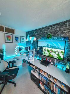 Best Gaming Setup, Gamer Setup, Gaming Room Setup, Gaming Chair, Desk Setup, Cool Gaming Setups, Gamer Bedroom, Bedroom Setup, Computer Gaming Room