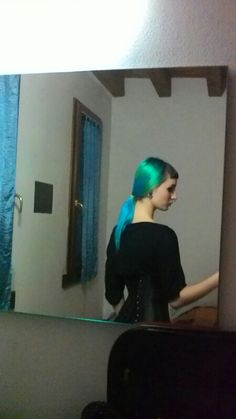 My hair color green- blue , gothic dress