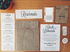 convite de casamento; convite rústico; papel semente; envelope de juta;