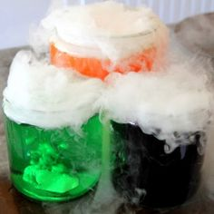 Spooky! Add this to your Halloween decor or lesson plans for at home science class. Edible Magic Potion is one of the coolest crafts for kids because it's edible science! #sensoryedgelovescrafts #craftsforkids