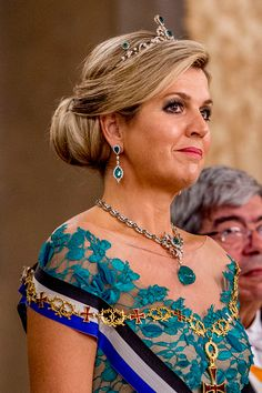 Queen Maxima of the Netherlands in a Dutch Emerald Parure Tiara, a royal heirloom set with pearls and emeralds which are thought to have belonged to Wilhelmina of Prussia, Princess of Orange, as she attends Portuguese state banquet.