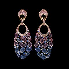 Mousson atelier, collection Splash, ear pendants, Yellow gold 750, Multicolored sapphires