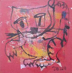OKTOBERZINNOBER  Kleine Katze  - 20x20x2cm von Kunstmuellerei.com auf DaWanda.com