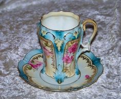"""Beautiful Vintage RS Prussia Vibrant """"Roses"""" Pedestal Cup & Saucer"""