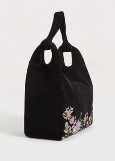 Floral embroidery velvet bag | VIOLETA BY MANGO