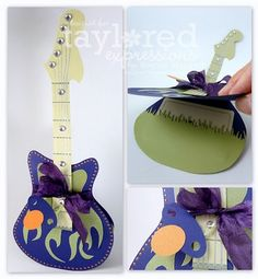 Cute homemade guitar card for the musically and artistically inclined.