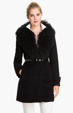 Michael Michael Kors Lamb Fur Collar Coat