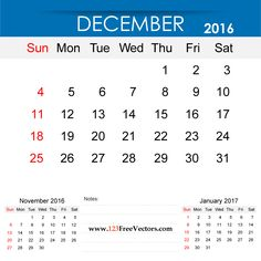 Free Download December 2016 Calendar Printable Template Vector Illustration. Can be used for business, corporate office, education, home etc.Free Editable Monthly Calendar December 2016 available in Adobe Illustrator Ai