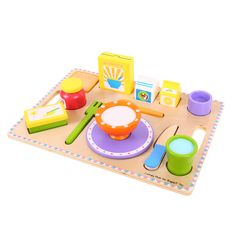 The most important meal of the day is ready to be served! This colourful wooden set is ideal for encouraging imaginative role play and contains almost everything you could ever hope to find on a single breakfast tray. There's milk and juice cartons, cereal, jam and butter to complement the vibrant wooden crockery and utensils. Ages 3 years and up. 14 play pieces. shop.bigjigstoys....