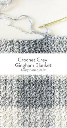 Crochet Grey Gingham Blanket - Free Pattern