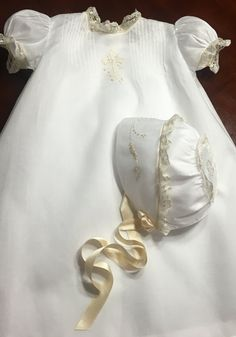 Items similar to French Handsewn Dedication or Baptism Gown abd Bonnet in Pima Cotton Batiste, Newborn, Infant, Baby Gift, Homecoming on Etsy Baptism Outfit, Baptism Dress, Baptism Clothes, Smocked Baby Dresses, Baby Girl Dresses, Winter Wedding Outfits, Frocks And Gowns, Angel Gowns, Baby Dedication