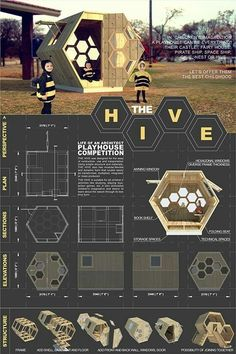 "Image 26 of 58 from gallery of Playhouses For Charity: How One Architect& Design Competition Raises Money For Neglected Children. ""Hive"" Playhouse, Thanh Ho Phuong Image Courtesy of The Life of an Architect Concept Board Architecture, Architecture Presentation Board, Architecture Panel, Architecture Portfolio, Architecture Design, Architecture Diagrams, Architect Portfolio Design, Interior Design Presentation, Presentation Layout"