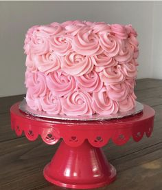 Pink Cakes Rosette Cake, Pink Cakes, Sugar Art, Sweet Cakes, Rosettes, Birthday Cake, Desserts, Color, Tailgate Desserts