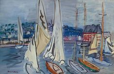 Raoul Dufy,Sailing Boats In Deauville Harbor oil painting reproductions for sale Renoir, Monet, Art Fauvisme, Sailboat Painting, Painting Art, Painting Lessons, Oil Paintings, Local Art Galleries, Raoul Dufy