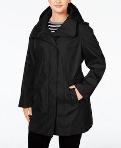 Calvin Klein Plus Size Hooded Raincoat - Black 2X