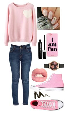 """""""Lover of Pink #2"""" by xxmonnyxx ❤ liked on Polyvore featuring WithChic, Olivia Burton, Marc Jacobs and Converse"""