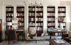 I love this bookshelf & chandelier via Splendid Sass