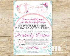 Once Upon a Time Bridal Shower Invitations / Fairytale Invite / Storybook Bridal Shower / pink, magenta, light blue