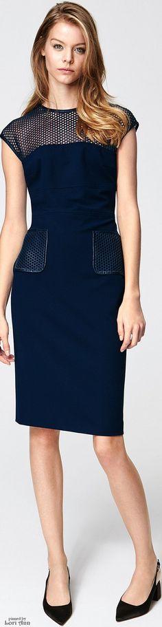 Escada Pre-Fall 2016 blue dress women fashion outfit clothing style apparel @roressclothes closet ideas