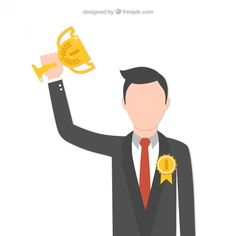Businessman with a Trophy Free Vector