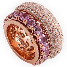 Passion Collection -Ref.300193-     Quinta essência    Anel em ouro rosa, com brilhantes brancos e safiras rosa.    Rose gold ring, spiked with white diamonds and pink sapphires.