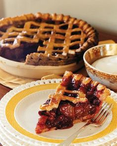 Cranberries and pears combine to create a brilliant red pie filling that strikes a palate-pleasing balance between tart and sweet. All you need to create the lattice pattern for the top crust is a 3/4-inch square cookie cutter.