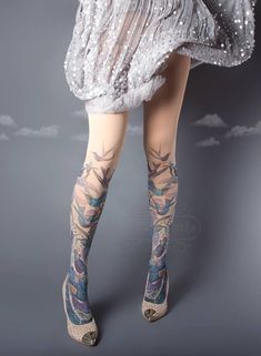 ON SALE/// Exotic Birds Closed Toe nude color one size full length printed tights, pantyhose, nylons, tattoo socks, tattoo tights Colored Tights, Patterned Tights, Fashion Tights, Fashion Outfits, Fashion Trends, Nylons, Tattoo Tights, Cute Tights, Lolita