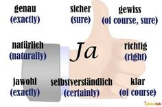 Ja - different words and expressions of saying yes
