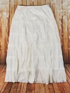 #StudioWestApparel Womens White Cotton Lined Layered Flare #Boho #Festival #Skirt