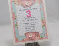 Handmade Tea Party Invitations Set Of  By Cardsandmoorebyterri   Fairy Tea Parties Mad