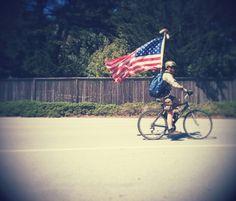 Patriot biker on 17 mile drive