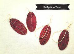 Leather earrings.