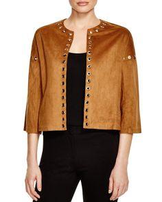 Vero Moda Grommet-Embellished Faux Suede Jacket