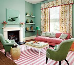 Amazing Mint Green Color Scheme and Pink Sofa Sets in Small Living Room Design Ideas