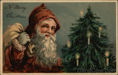 A Merry Christmas with Santa and Candle-light Tree Relief, Brilliant Series 7312, 7315