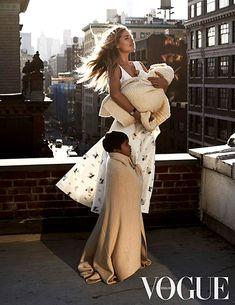 Doutzen Kroes poses with her children in Vogue Netherlands.