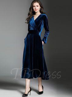 A-line Evening V-neck Long Sleeve Deep Blue Midi dress Day Dresses, Blue Dresses, Dress Outfits, Evening Dresses, Fashion Dresses, Dresses Online, Blue Midi Dress, Long Sleeve Midi Dress, Girls Kaftan