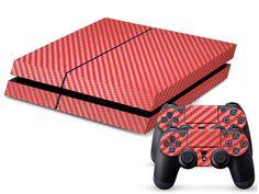 Red Carbon Fiber Print PS4 Skin + 2 Controller Skins