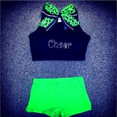 Rhinestone & Lime Green Cheer Outfit by ThingsToCheerAbout on Etsy, $45.99