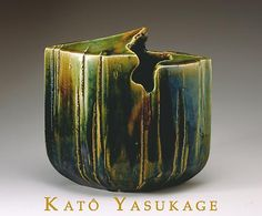 Talented ceramic artist Kato Yasukage sadly passed away August 13th, 2012. Katō Yasukage was one of the top young ceramic talents in Japan, specializing in the centuries-old traditions of red and white shino and green-copper-glazed oribe wares.