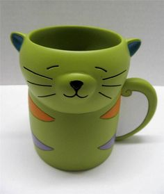 This cute cat tumbler features whiskers & colorful stripes. Makes bath time fun for cat lovers of all ages. Everything comes from a smoke & pet free home. Toothbrush And Toothpaste Holder, Tumblers, Cat Lovers, Bath, Mugs, Friends, Amigos, Bathing, Mug