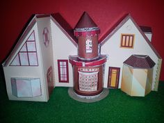 This is a paper miniature house from a totorial I found Cardboard Houses, Miniatures, Paper, Blog, Crafts, Manualidades, Blogging, Handmade Crafts, Craft