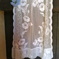 Antique Lace Curtains | Vintage small crochet lace curtain by BiarritzVintage on Etsy