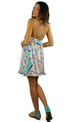 Strappy Back Patterned Shift Dress - White/Blue/Multi | .H.C.B.