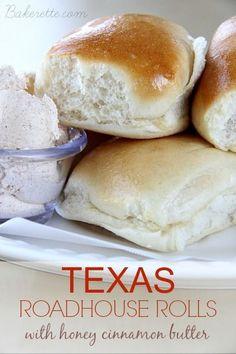 Texas Roadhouse Rolls with Honey Cinnamon Butter. http://Bakerette.com